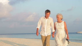 Senior Couple Walking On Beautiful Beach. Senior couple walking and embracing as they pass camera.Shot on Canon 5d Mk2 with a frame rate of 30fps stock footage