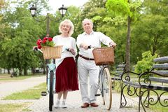 Senior couple walking with bicycles. In spring park Royalty Free Stock Photos