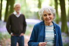 Senior Couple Walking Through Bluebell Woods Royalty Free Stock Photos