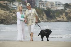 Senior Couple Walking With Dog At Beach Royalty Free Stock Photos