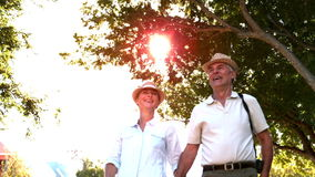 Senior couple walking and holding hands on sunny day stock video footage