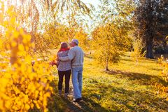 Free Senior Couple Walking In Autumn Forest. Middle-aged Man And Woman Hugging And Chilling Outdoors Stock Photography - 128459392