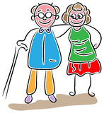 Senior couple walking. Line art cartoon image Stock Photos