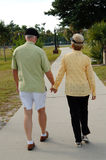 Senior couple walking in park. A back view of a senior couple outdoors holding hands walking in a park royalty free stock photos