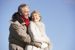 Senior Couple Walking In Park Stock Photos