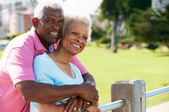 Senior Couple Walking In Park Together Royalty Free Stock Image