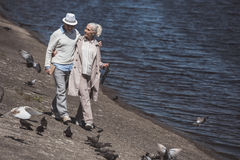 Senior couple walking on river shore at daytime. Casual senior couple walking on river shore at daytime Royalty Free Stock Images
