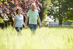 Senior Couple Walking In Summer Countryside Stock Photography