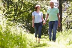 Senior Couple Walking In Summer Countryside stock photos