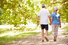 Senior couple walking together in the countryside, back view Stock Photos