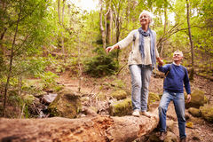 Senior couple walking together in a forest Stock Image