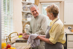 Senior couple washing the dishes Royalty Free Stock Image