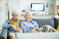 Senior Couple Watching TV royalty free stock photography