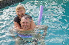 Senior couple water fun Royalty Free Stock Image