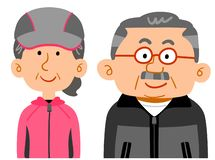 Senior couple wearing sportswear The upper half of the wealthy people royalty free illustration