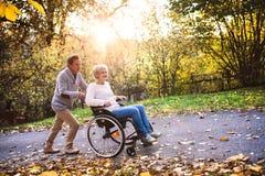 Senior couple in wheelchair in autumn nature. Royalty Free Stock Photos