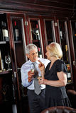 Senior couple at wine tasting Royalty Free Stock Photo