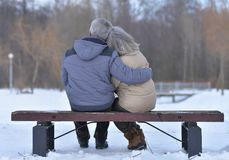 Senior couple at winter outdoors Royalty Free Stock Photography