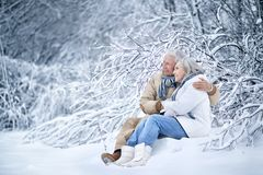 Senior couple at winter outdoors Stock Image