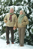 Senior couple at winter outdoors Royalty Free Stock Photo
