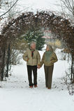 Senior couple  at winter park Stock Photo