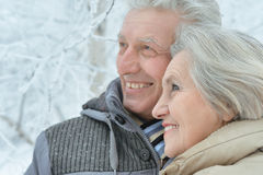 Senior couple in winter Stock Photography