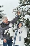 Senior couple in winter Stock Image