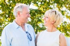 Senior couple, woman and man, having walk Stock Photo