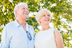 Senior couple, woman and man, having walk Royalty Free Stock Photography
