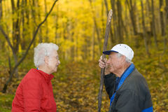 Senior couple in the woods. royalty free stock image