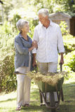 Senior Couple Working In Garden At Home Stock Photo