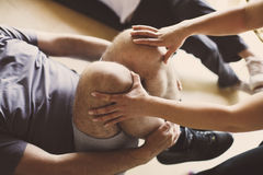 Senior couple workout in rehabilitation center. Stock Photo