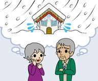 Senior couple are worried Heavy snow Royalty Free Stock Photo