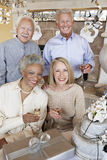 Senior Couples With Champagne In Party Stock Photo