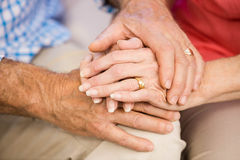 Senior couples hands together Royalty Free Stock Images