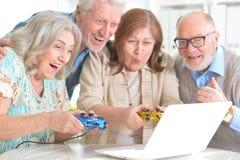 Senior couples having fun. Portrait of two senior couples having fun together stock image