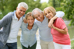 Senior couples on a trip to countryside Stock Photo