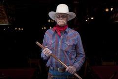 Senior Cowboy Holding Pool Cue Royalty Free Stock Photo