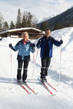 Senior Cross country skiing Royalty Free Stock Images
