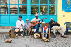 Senior cuban men playing traditional music in Havana stock photography