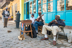 Senior cuban men playing traditional music in Havana Royalty Free Stock Image