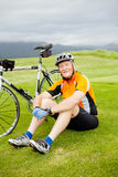 Senior cyclist resting Royalty Free Stock Photography