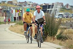 Senior cyclists outdoor fitness exercise