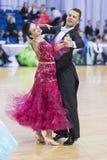 Senior Dance Couple of Goncharoiv Oleg and Borisenok Evgeniya Performs European Standard Program Royalty Free Stock Photo