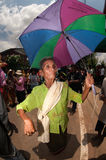 Senior dancer joyfully  in Ordination parade. Stock Photo