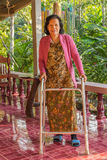 Senior disabled woman with walker Royalty Free Stock Photography