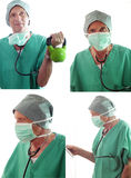 Senior Doctor Collage Isolated. A senior medical surgeon wearing scrubs exercises, stares ahead and looks concerned while viewing medical patient information Stock Photography