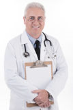 Senior doctor holding clipboard Royalty Free Stock Photo