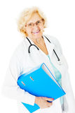 Senior Doctor Holding Ring Binder Over White Background Stock Photos