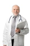 Senior doctor laughing to camera. Portrait of happy senior doctor laughing, isolated on white Stock Photos
